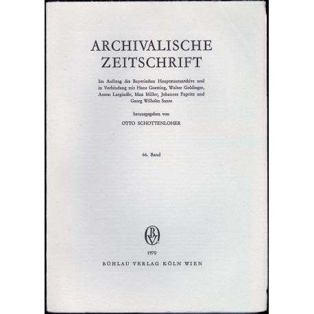 Archivalische Zeitschrift 66 (1970)